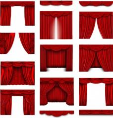 红色波浪舞台幕布矢量装饰素材