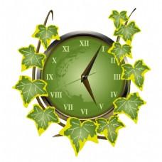 手绘绿叶钟表元素