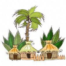 手绘海岛原著民元素
