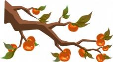 手绘油画果树元素