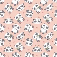 可爱卡通熊猫填充背景矢量素材