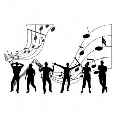 手绘人物音乐元素