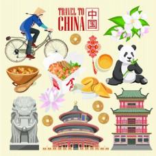 卡通中国地标美食建筑人物扁平化旅游矢量