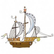手绘帆船模型元素