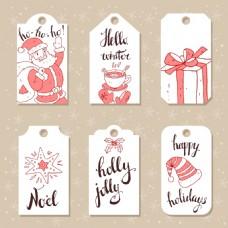 白色小清新圣诞节节日吊牌矢量素材