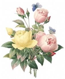 手绘水墨花朵元素