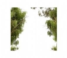 手绘郊外绿荫元素