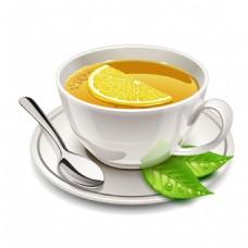 手绘下午茶绿叶元素