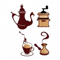 手绘茶壶茶杯元素