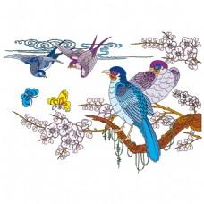 手绘树枝小鸟元素