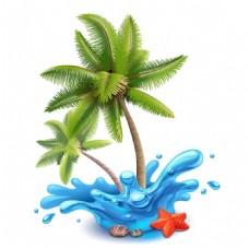 手绘大海椰树元素