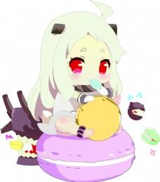 吃马卡龙的小女孩元素