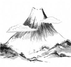 手绘水墨火山元素