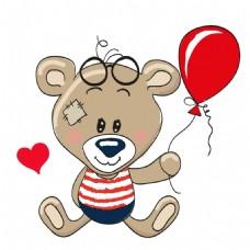 手绘气球小熊元素