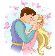 手绘王子公主亲吻元素