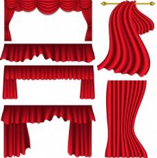 大舞台红色幕布矢量装饰素材