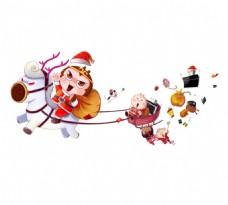 手绘圣诞猴哥元素