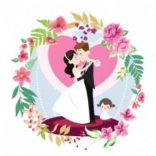 小清新花环婚礼logo