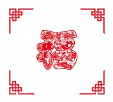 手绘红福花纹元素