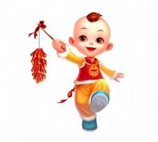 手绘春节放鞭炮元素