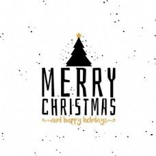 简约圣诞树圣诞节创意文字设计矢量