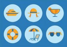 夏天度假图标矢量素材