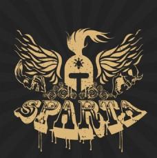 sparta斯巴达复古文字头盔翅膀图标