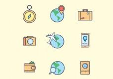旅游图标矢量素材