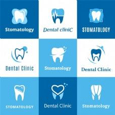 卡通牙齿蓝色健康宣传海报背景