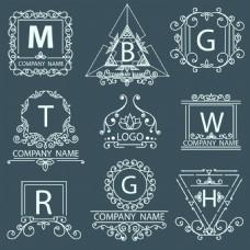 简约字母树枝标签蒙版边框矢量素材