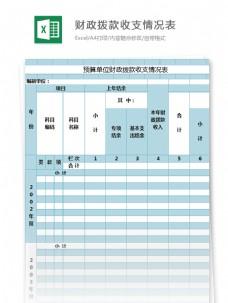单位财政拨款收支情况表excel模板表格