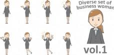 卡通女生插画人物生活动态表情矢量