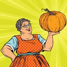 外婆欧美卡通海报漫画风格人物矢量素材