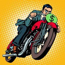 骑着车的男人海报漫画风格人物矢量素材