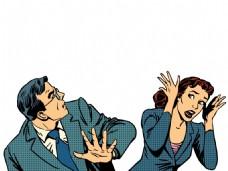 吵架欧美卡通海报漫画风格人物矢量素材