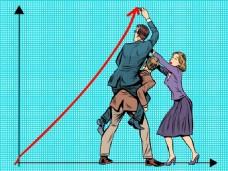 卡通数据指标海报漫画风格人物矢量素材