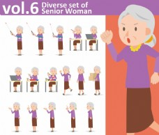 卡通老奶奶矢量人物各种表情素材