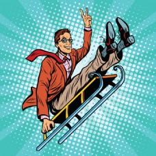 雪橇欧美卡通海报漫画风格人物矢量素材