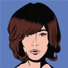 欧美短发美女卡通海报漫画风格人物矢量素材