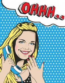 打电话漫画风格人物矢量素材