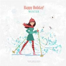 穿着冬装的女生生活旅行插画矢量设计素材