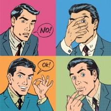 各种表情欧美卡通海报漫画风格人物矢量素材