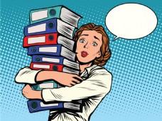 抱着书的女人卡通海报漫画风格人物矢量素材