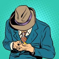 男人欧美卡通海报漫画风格人物矢量素材