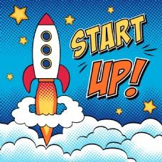 火箭发射海报漫画风格人物矢量素材