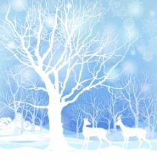 大树和麋鹿插画