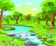 森林自然景观矢量背景