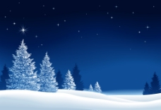 冬天的夜晚风景插画