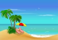 夏天美丽度假的小岛插画