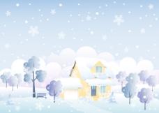 下雪的乡村风景插画